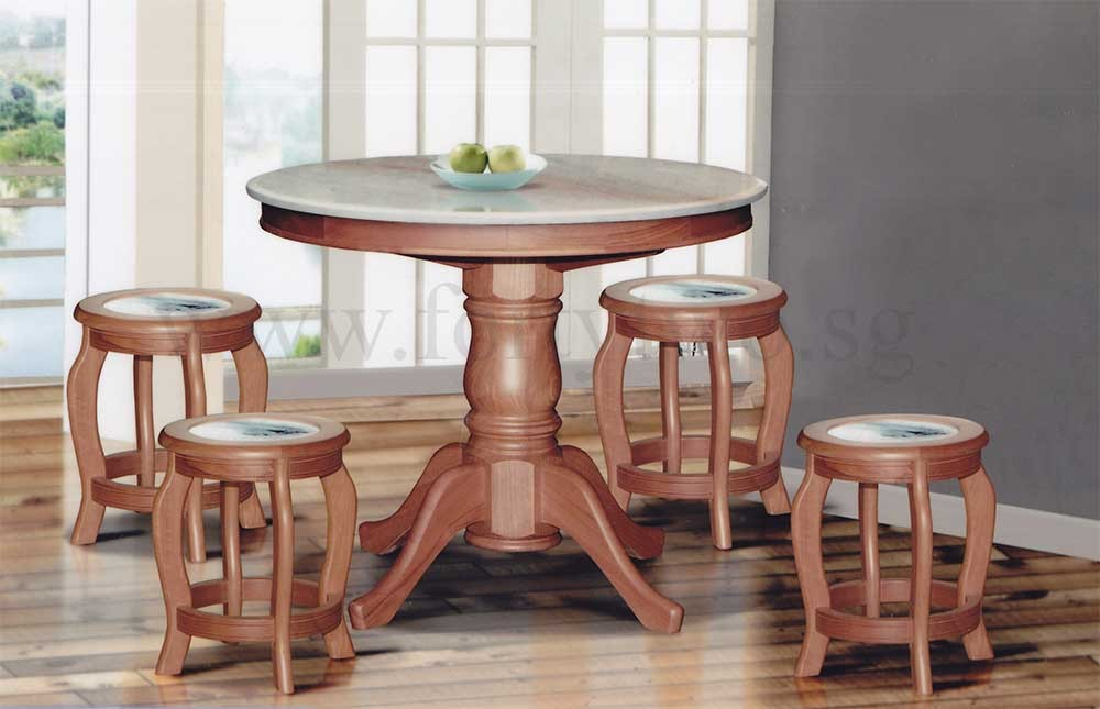 Dn888 Round Marble Dining Table 4ft 6 Stools Seat Top