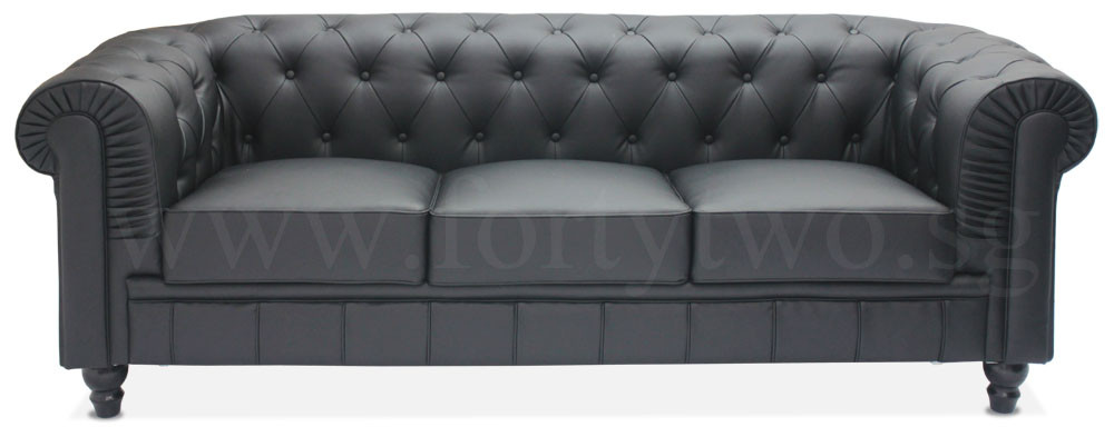 Benjamin Clical 3 Seater Pu Leather Sofa In Black