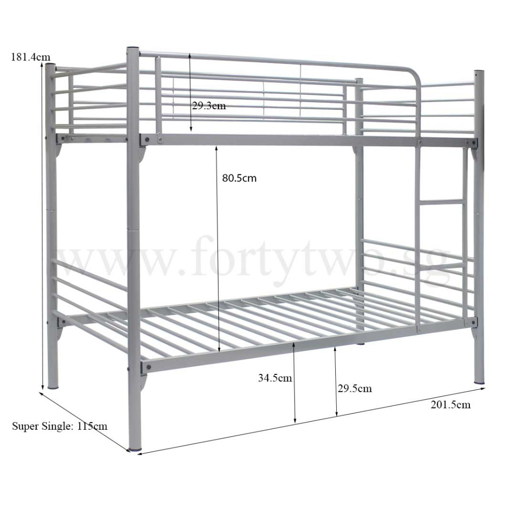 Michelle double deck bed super single size furniture Double bed dimensions