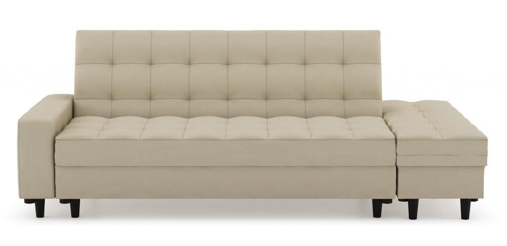 Thora Multi Storage Sofa Bed Fabric, Beige Sofa Bed With Storage