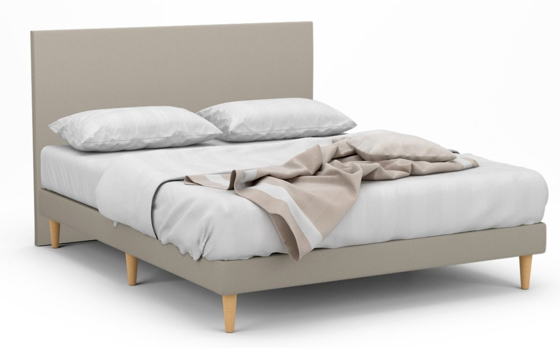 1 stock offer delphine ii fabric bed frame with tall beech legs queen pastel khaki in30684. Black Bedroom Furniture Sets. Home Design Ideas
