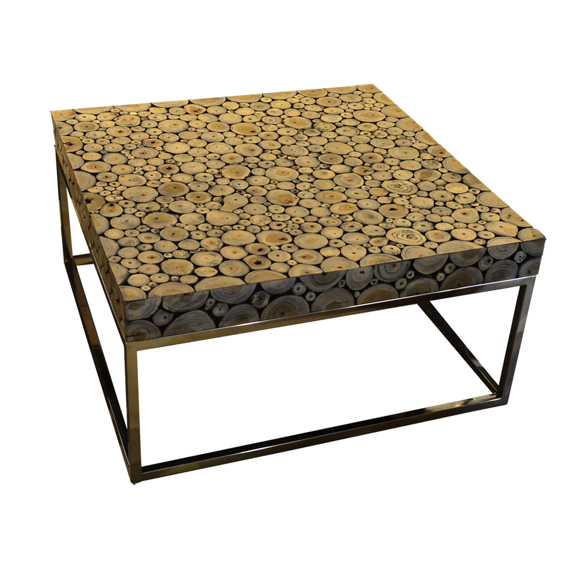 Round Wood Mosaic Coffee Table A