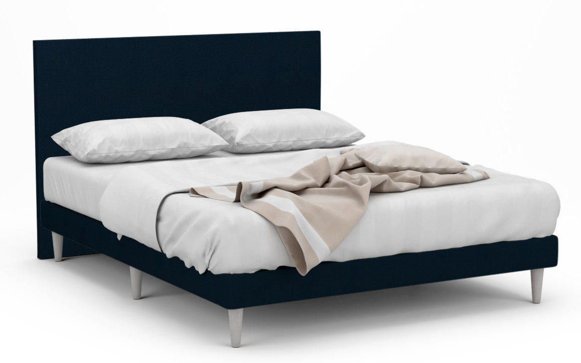 delphine ii fabric bed frame with tall white legs. Black Bedroom Furniture Sets. Home Design Ideas