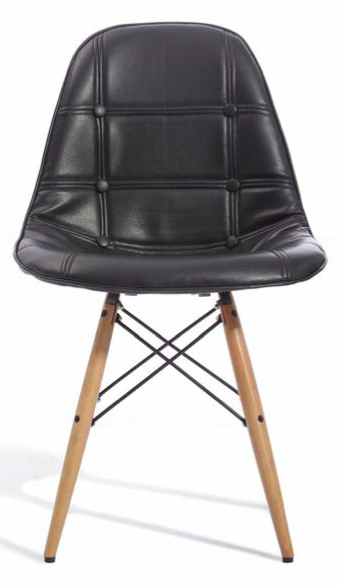 Eames cushioned black replica designer chair dining room for Imitation designer chairs