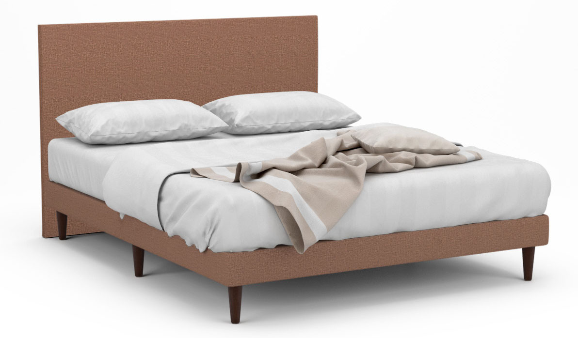 delphine ii fabric bed frame with tall walnut legs beds. Black Bedroom Furniture Sets. Home Design Ideas