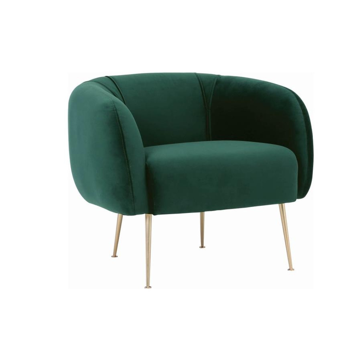 Alero Armchair With Gold-Plated Leg, Dark Green