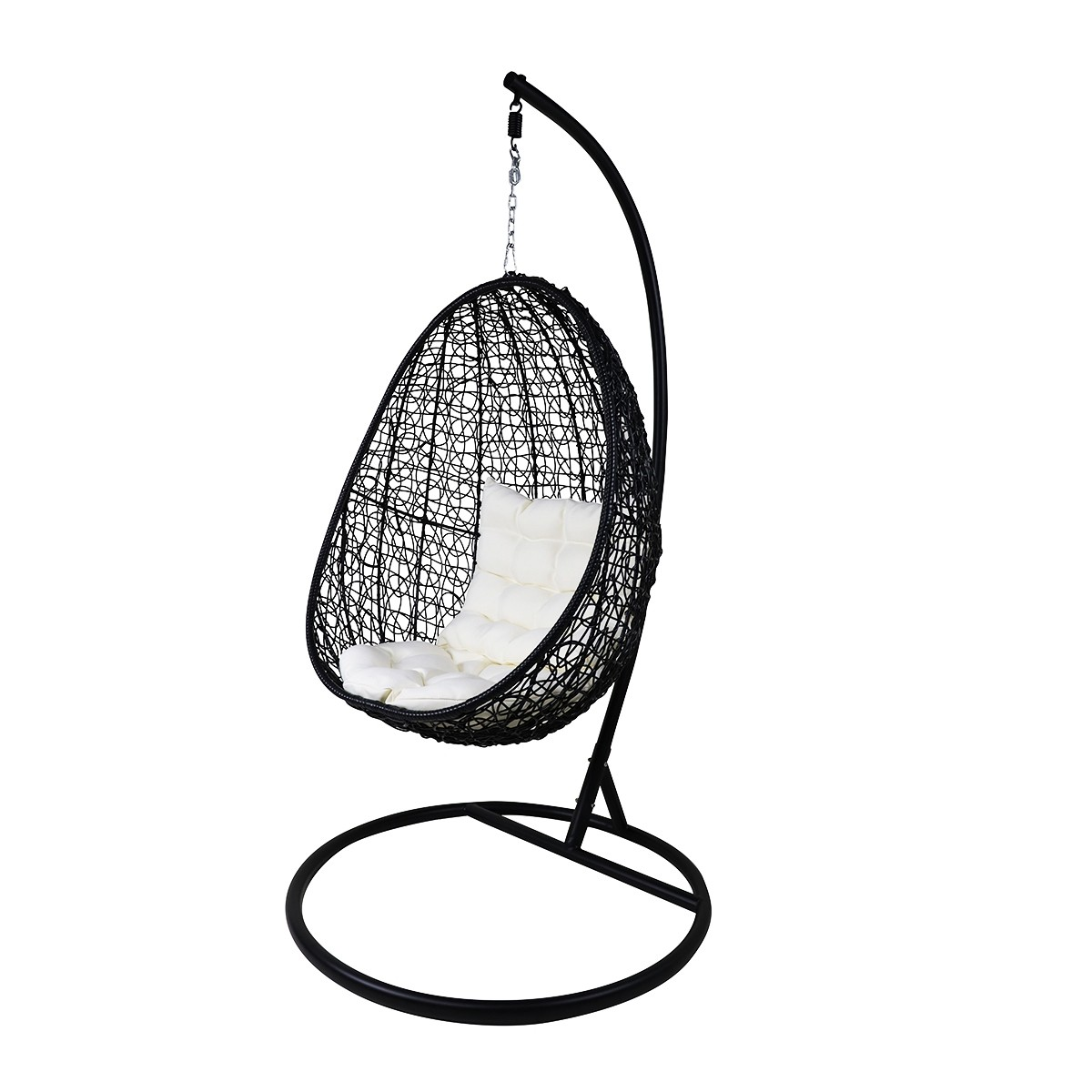 Picture of: Black Cocoon Swing Chair White Cushion Furniture Home Decor Fortytwo