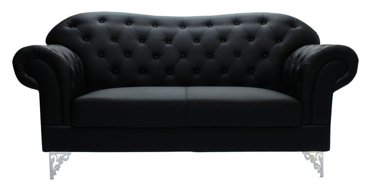Gardaenia 2 Seater PU Leather Sofa In Black