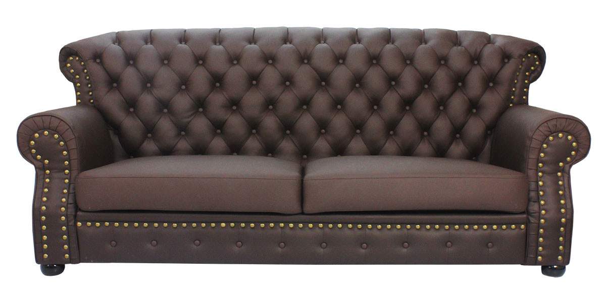 3 Seater Half Leather Sofa Dark Brown