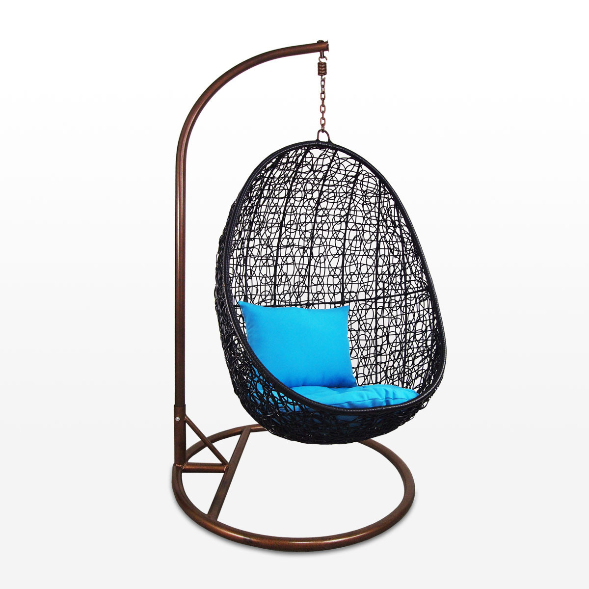black cocoon swing chair blue cushion furniture home