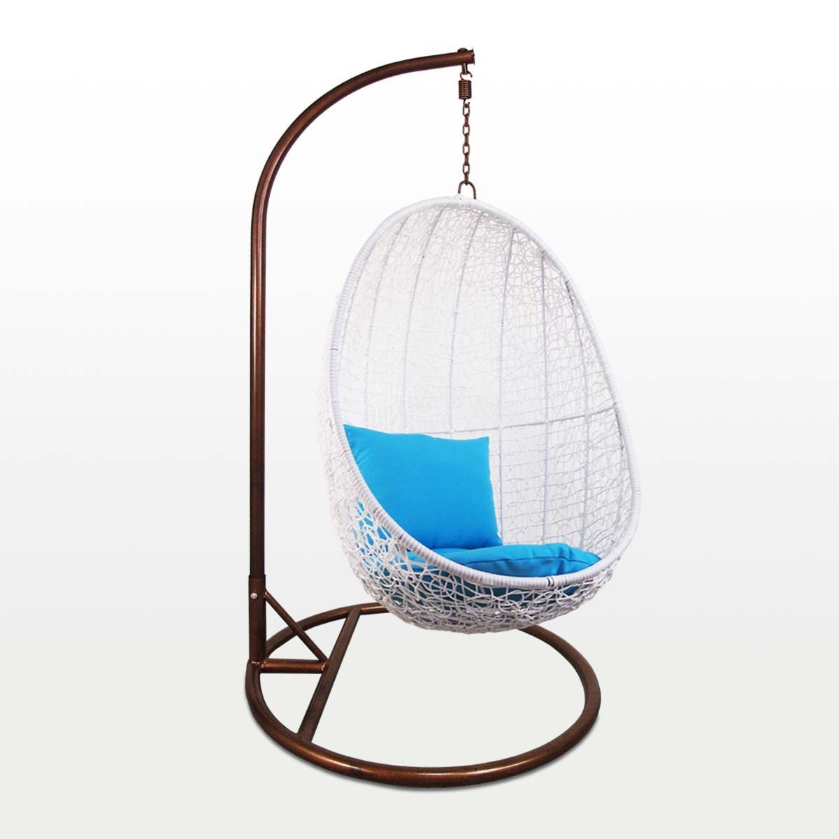 White Cocoon Swing Chair Blue Cushion Outdoor Garden