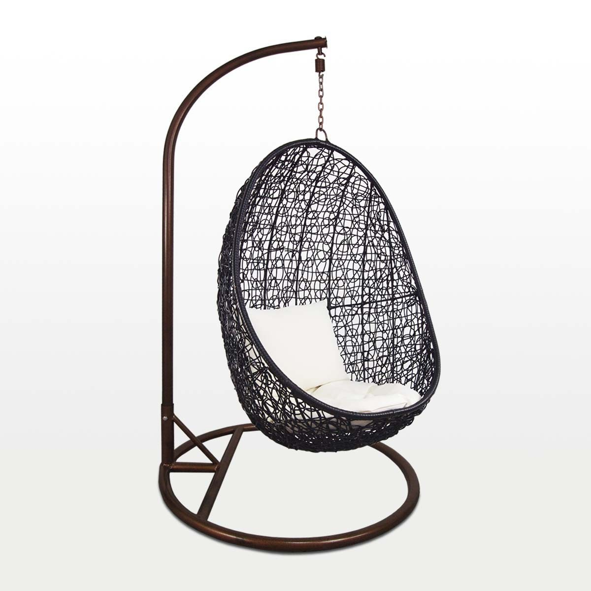 Superbe Black Cocoon Swing Chair, White Cushion