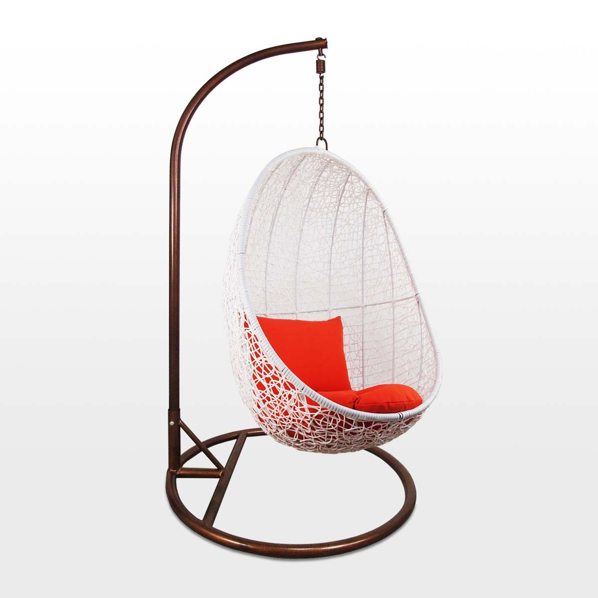 White Cocoon Swing Chair, Orange Cushion - Outdoor Garden ...