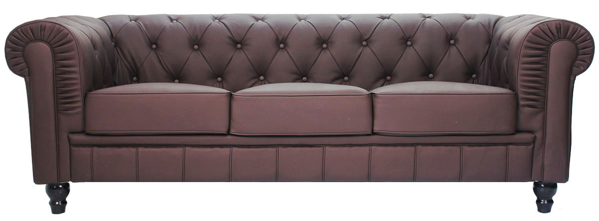 benjamin classical 3 seater pu leather sofa in dark brown - Dark Brown Couch