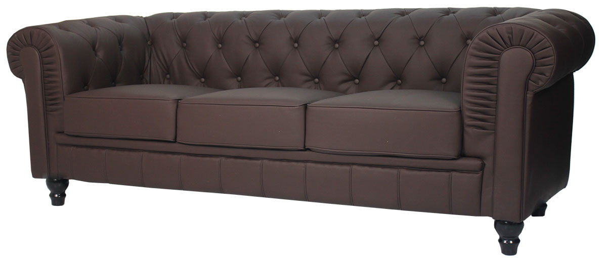 Ordinaire Benjamin Classical 3 Seater PU Leather Sofa In Dark Brown