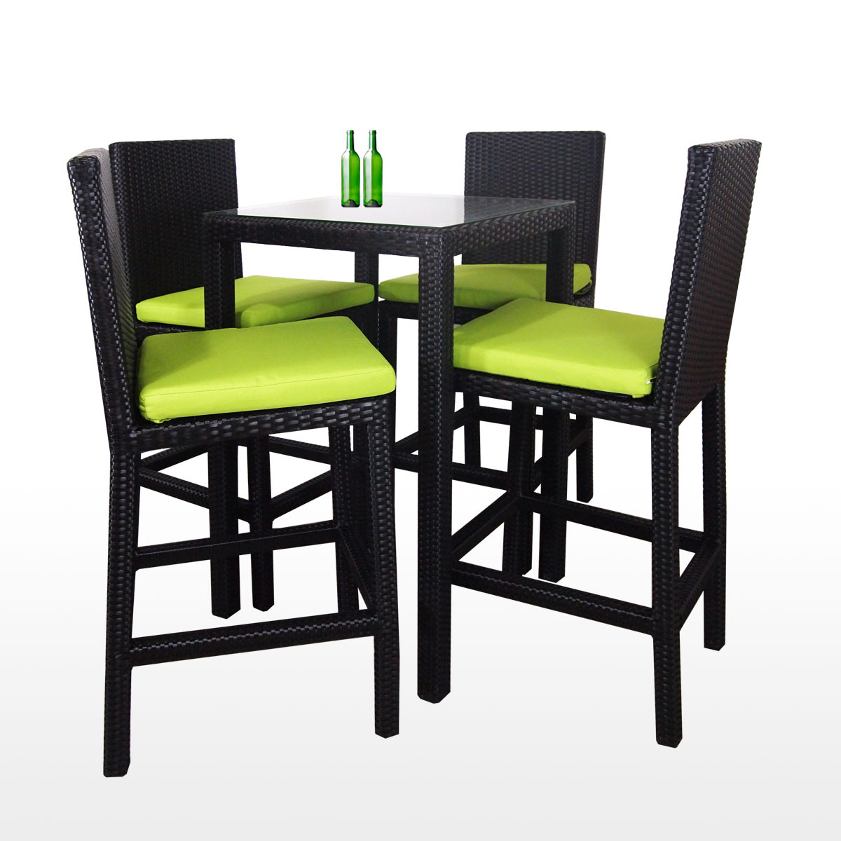 Midas 4 Chair Bar Set Green Cushion Furniture Home Decor Fortytwo