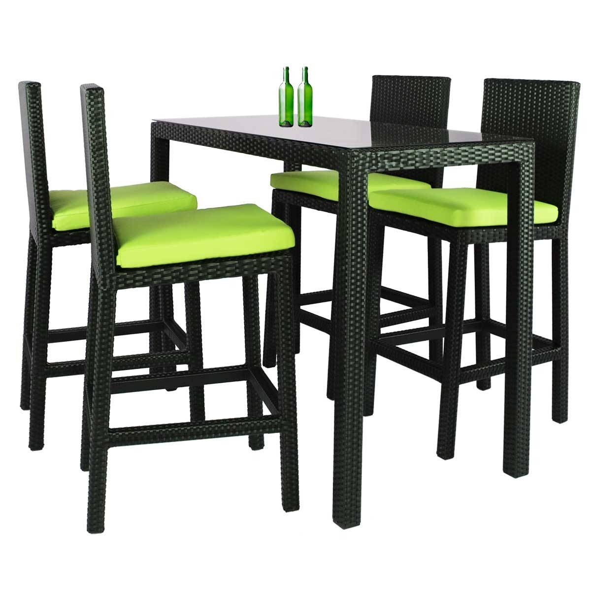 Midas long 4 chair bar set green cushion