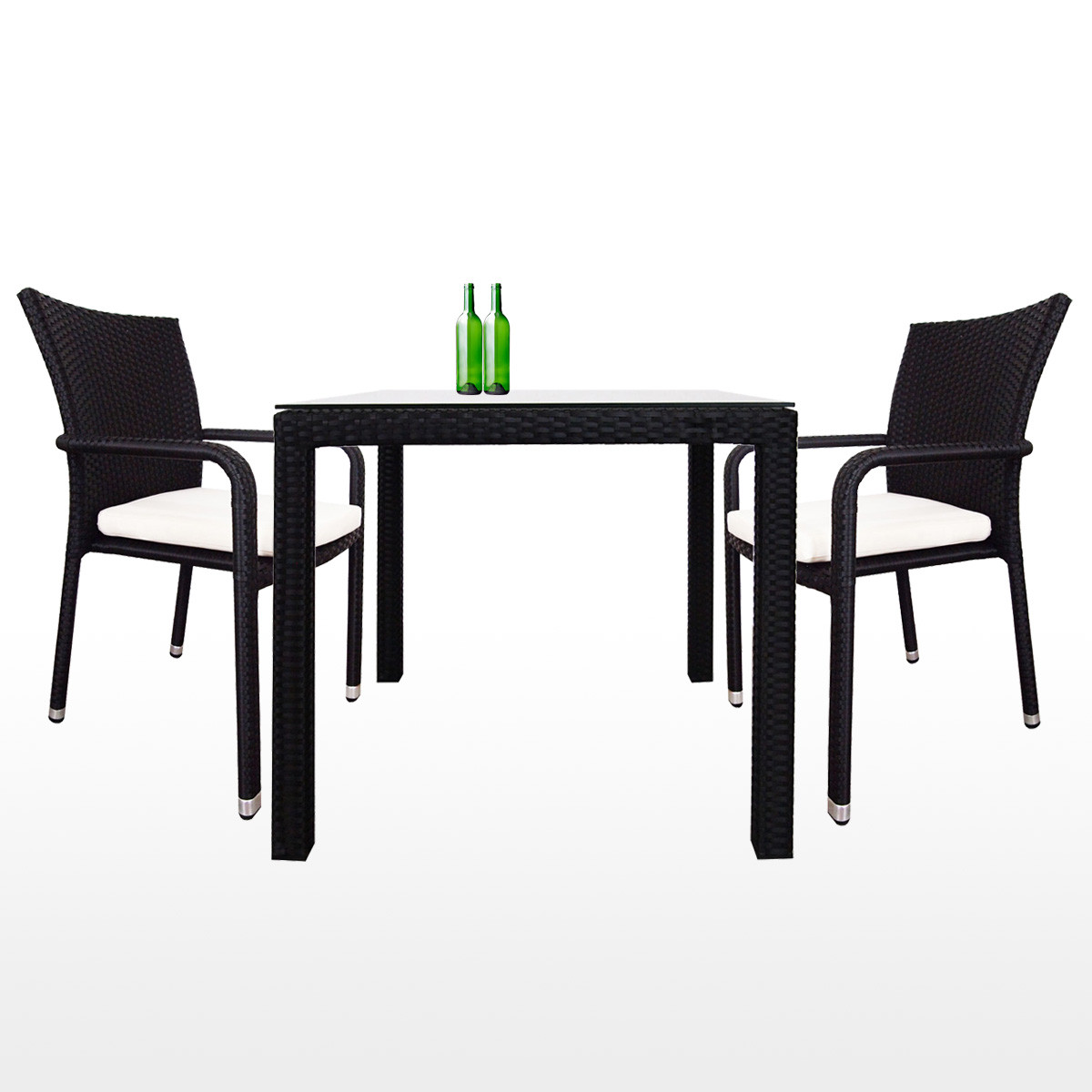 Palm 2 Chair Dining Set White Cushion 2 Year Warranty Outdoor