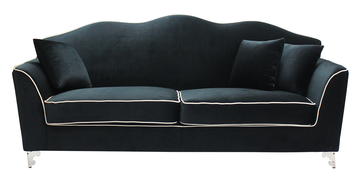 Ballari 3 Seater Suede Sofa In Black