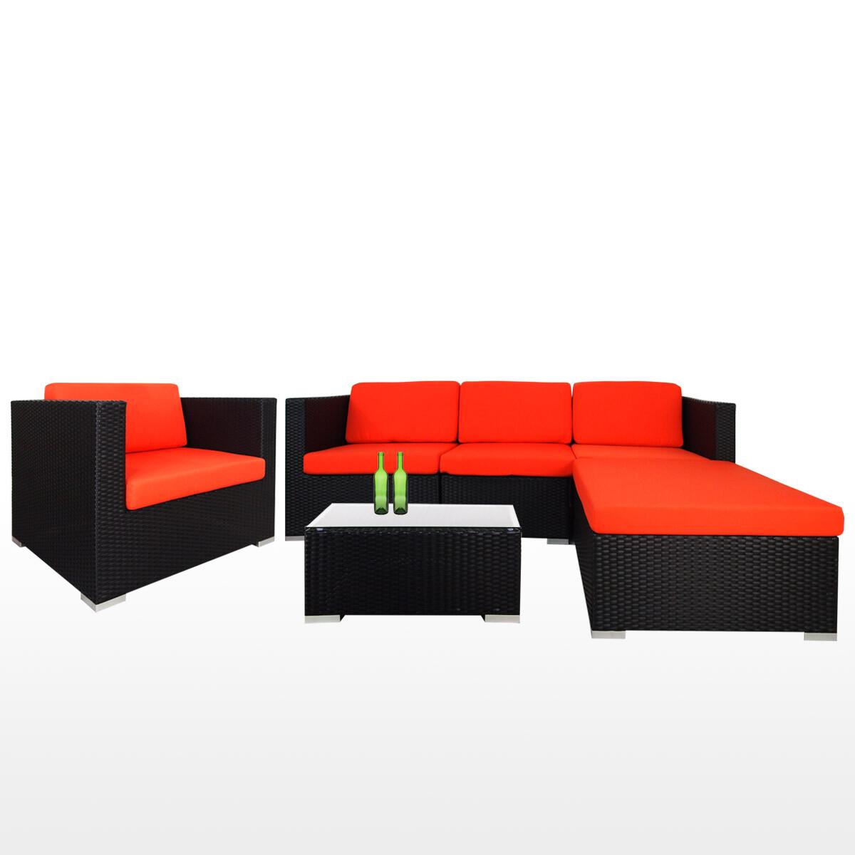 Summer Outdoor Modular Sofa Set II Orange Cushions (2 Year