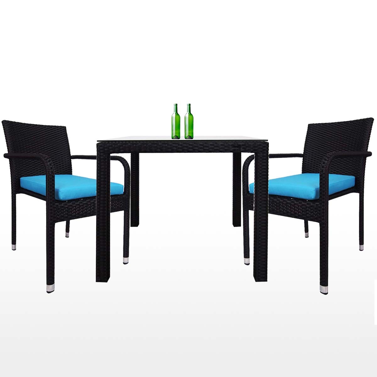 Palm 2 Chair Dining Set Blue Cushion 2 Year Warranty Furniture