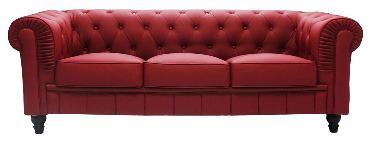 Benjamin Classical 3 Seater PU Leather Sofa In Maroon