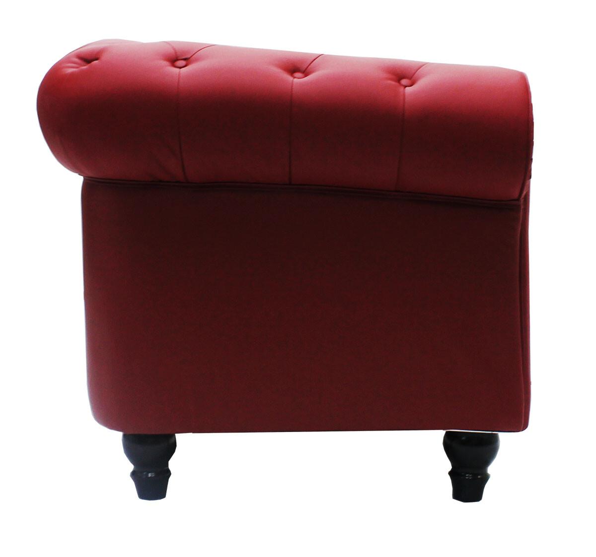 Benjamin Classical 2 Seater PU Leather Sofa In Maroon