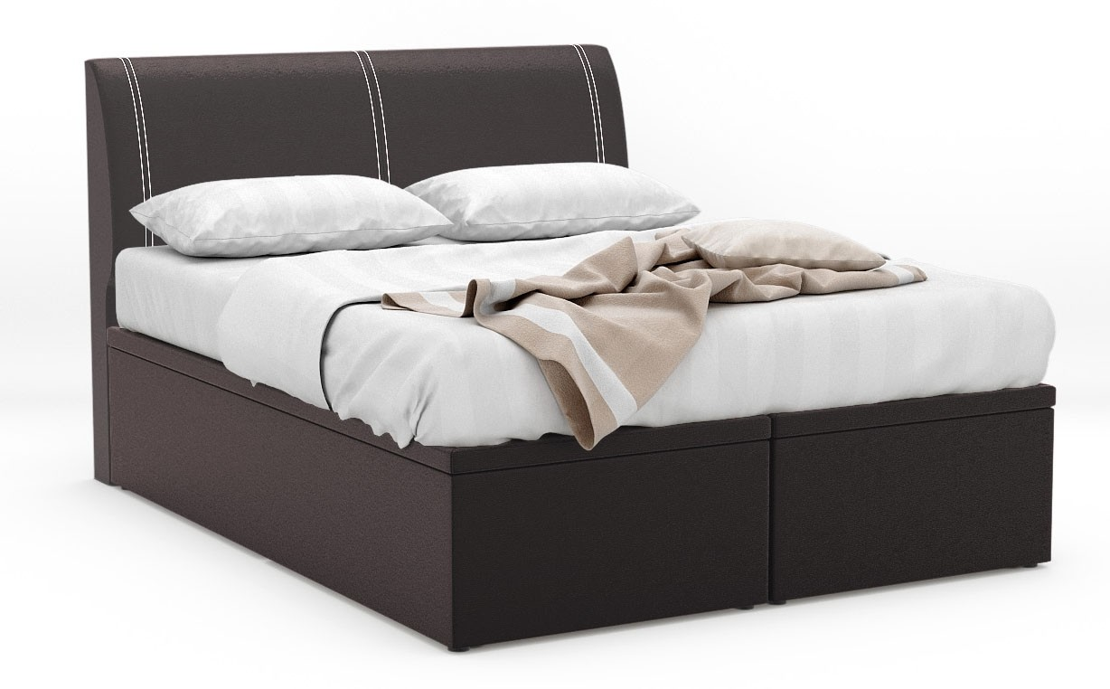 quadtough faux leather storage bed frame furniture. Black Bedroom Furniture Sets. Home Design Ideas