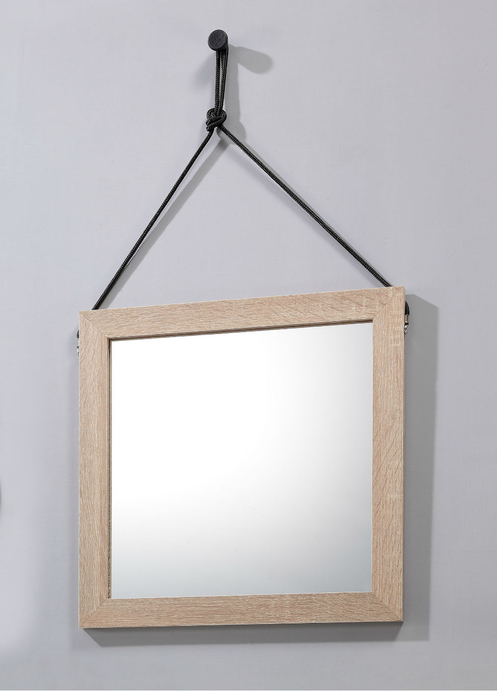 Lillo hanging mirror with hang rope black furniture for Hanging mirror
