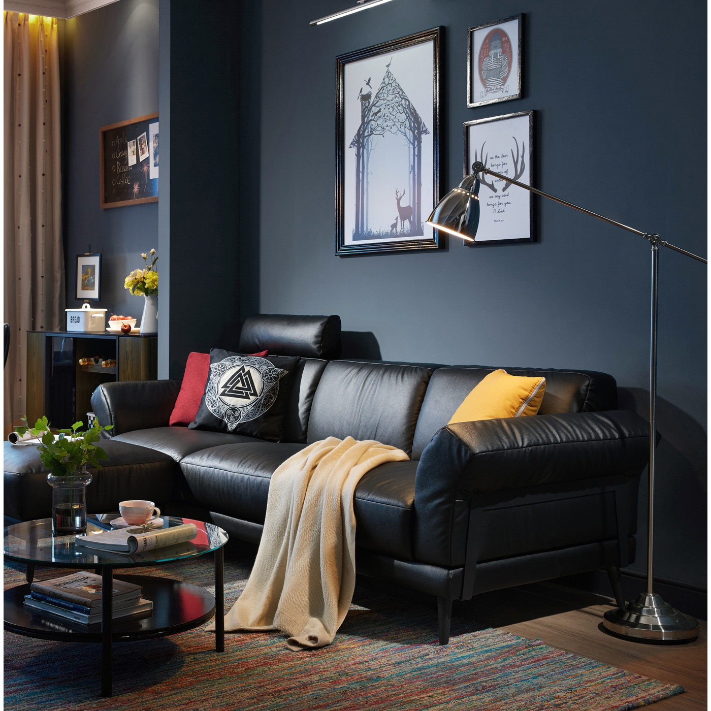 Picture of: Phebe L Shape Sofa Black Genuine Leather Sofas Sofas Living Room Furniture Furniture Home Decor Fortytwo