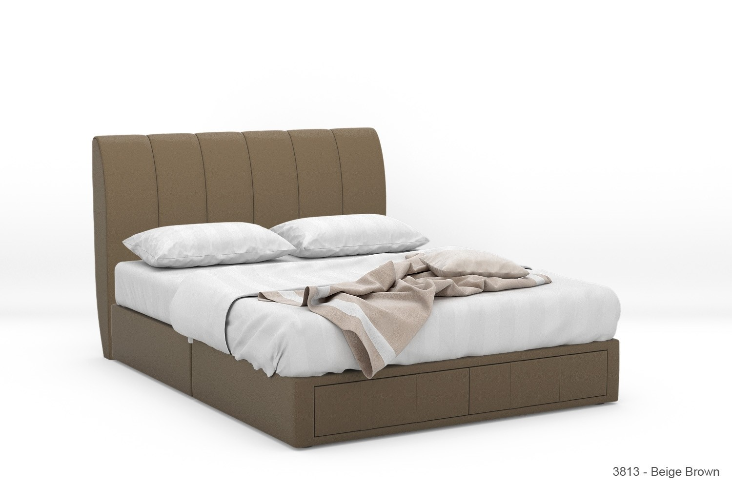 1 Stock Offer: Zimtax Faux Leather Drawer Bed Frame (Queen, Beige ...