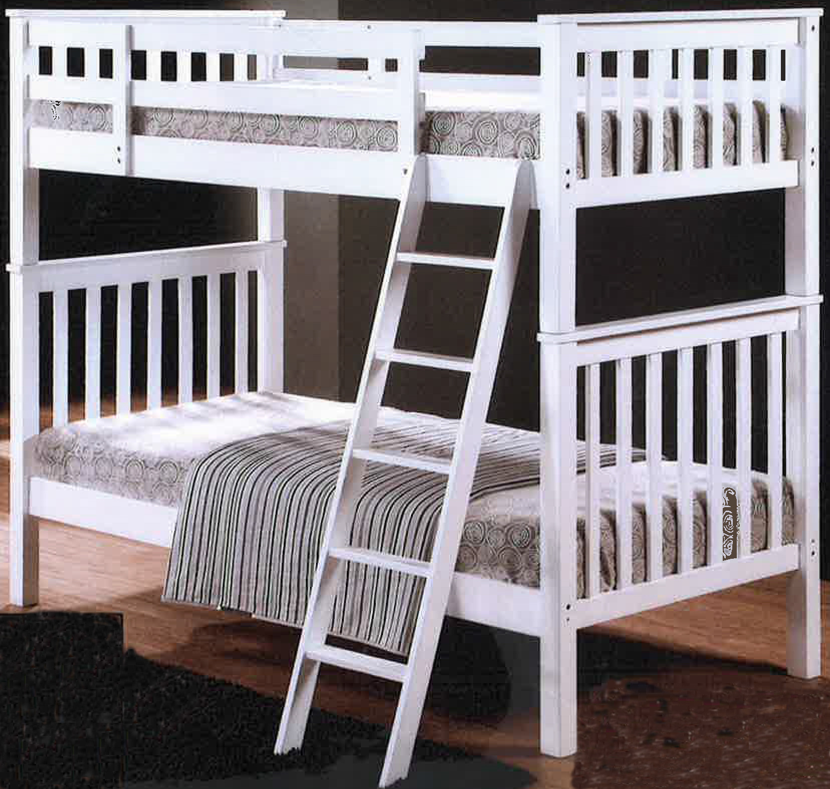 Oppland double decker bed in white beds bedroom for Double decker toddler beds