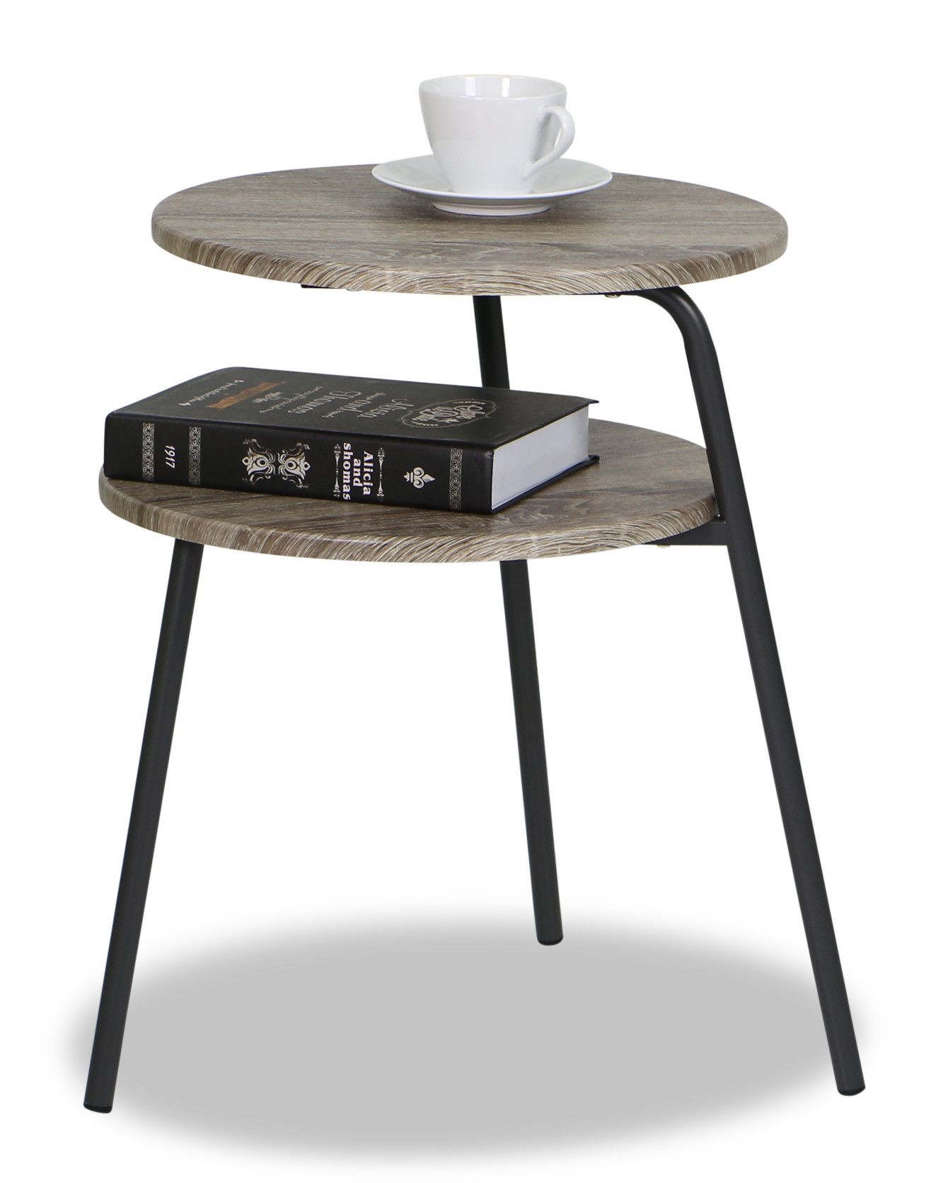 Ordinaire Dossi Double Deck Side Table In Sonoma Oak