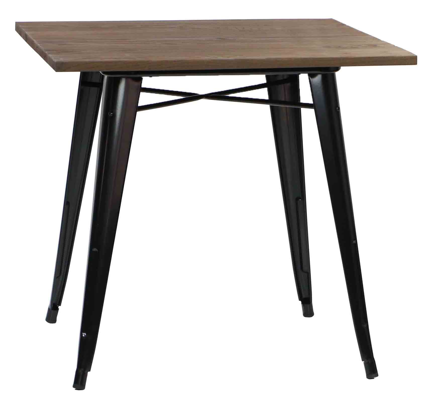 Charmant Modus Metal Dining Table With Wood Top Black