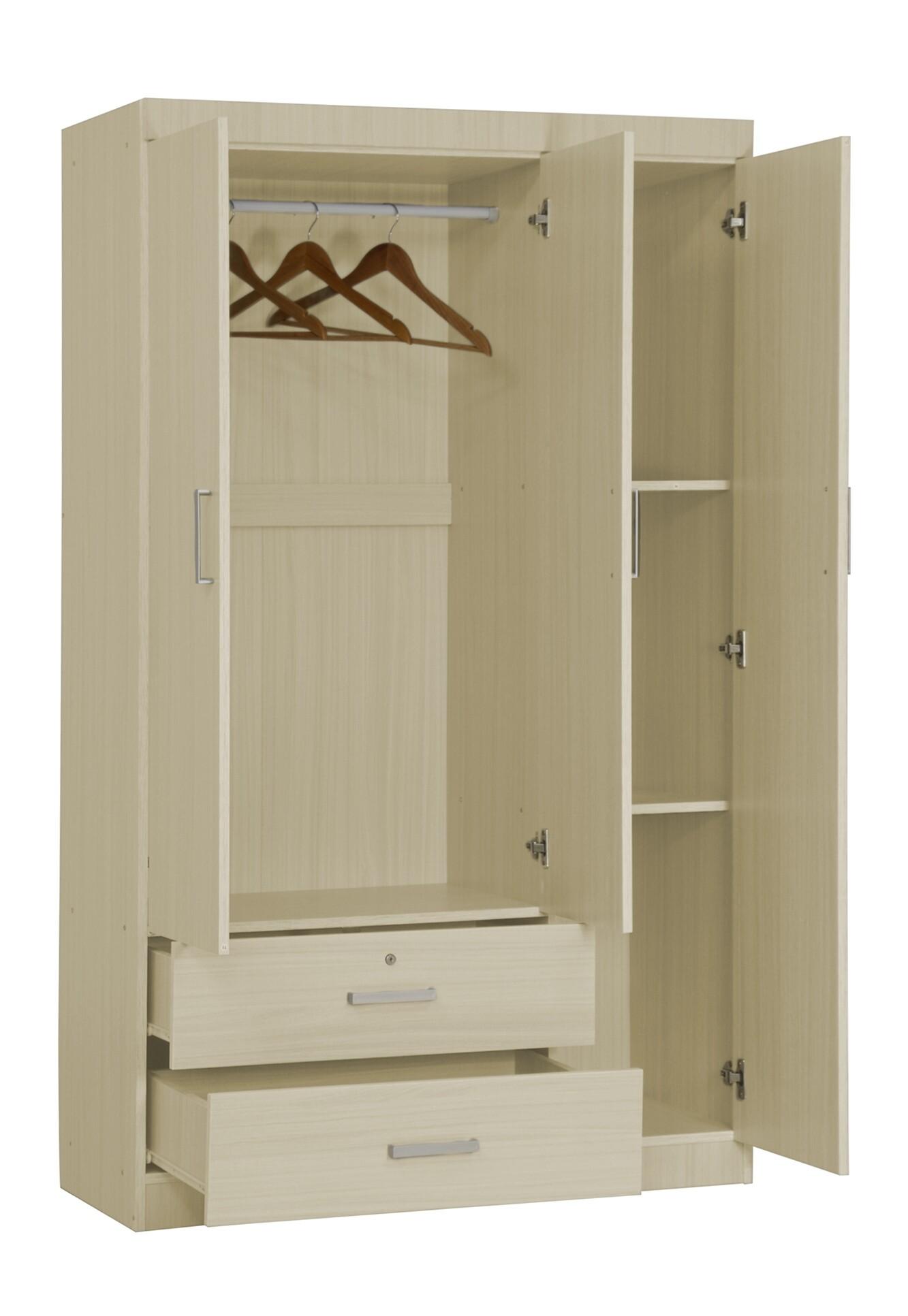 Elifel 3 Door Wardrobe In White Wash Wardrobes Bedroom Furniture Sets Furniture Home Decor Fortytwo