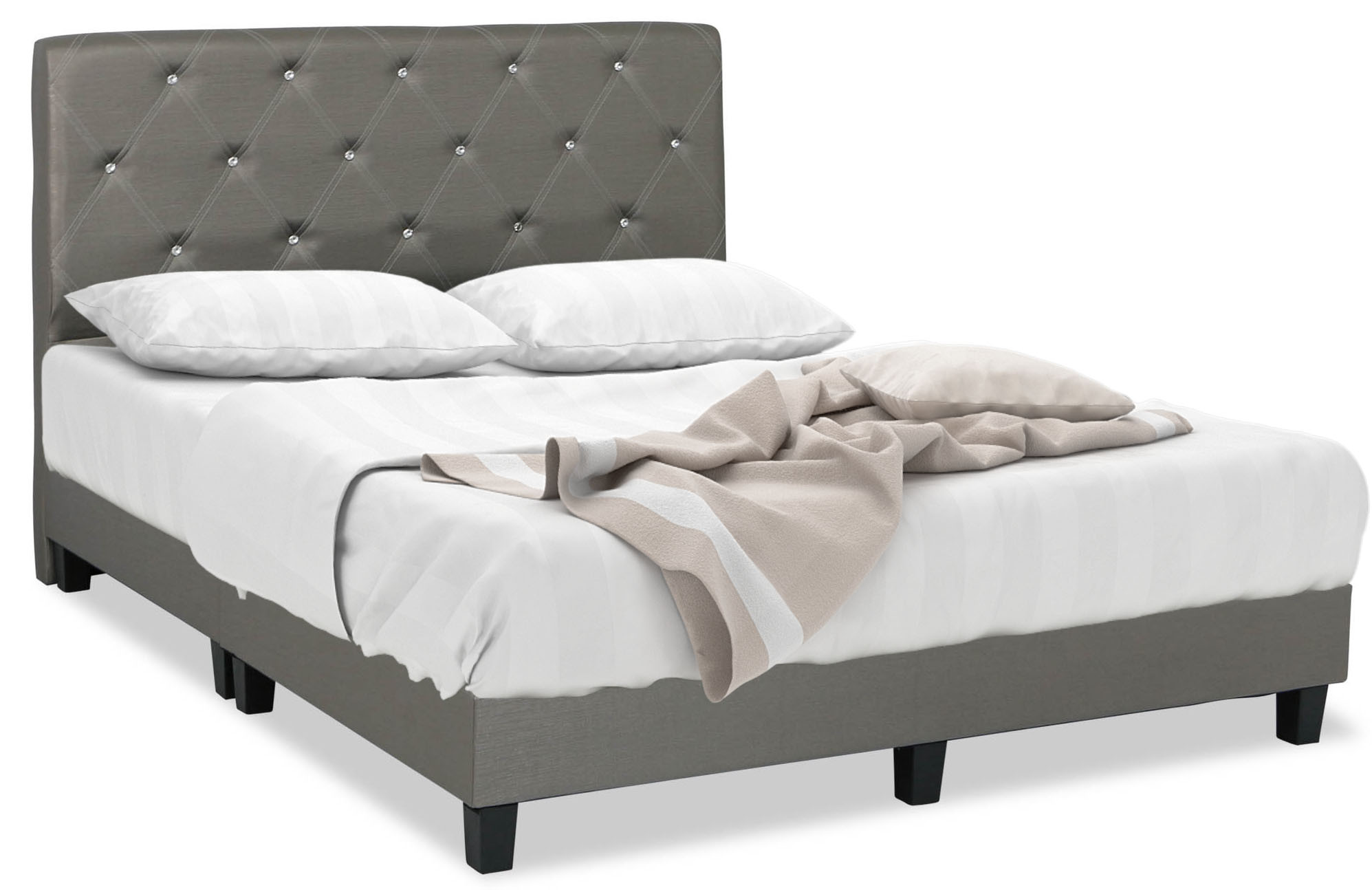 Broyles Faux Leather Bed Frame in Queen Size | Furniture & Home ...