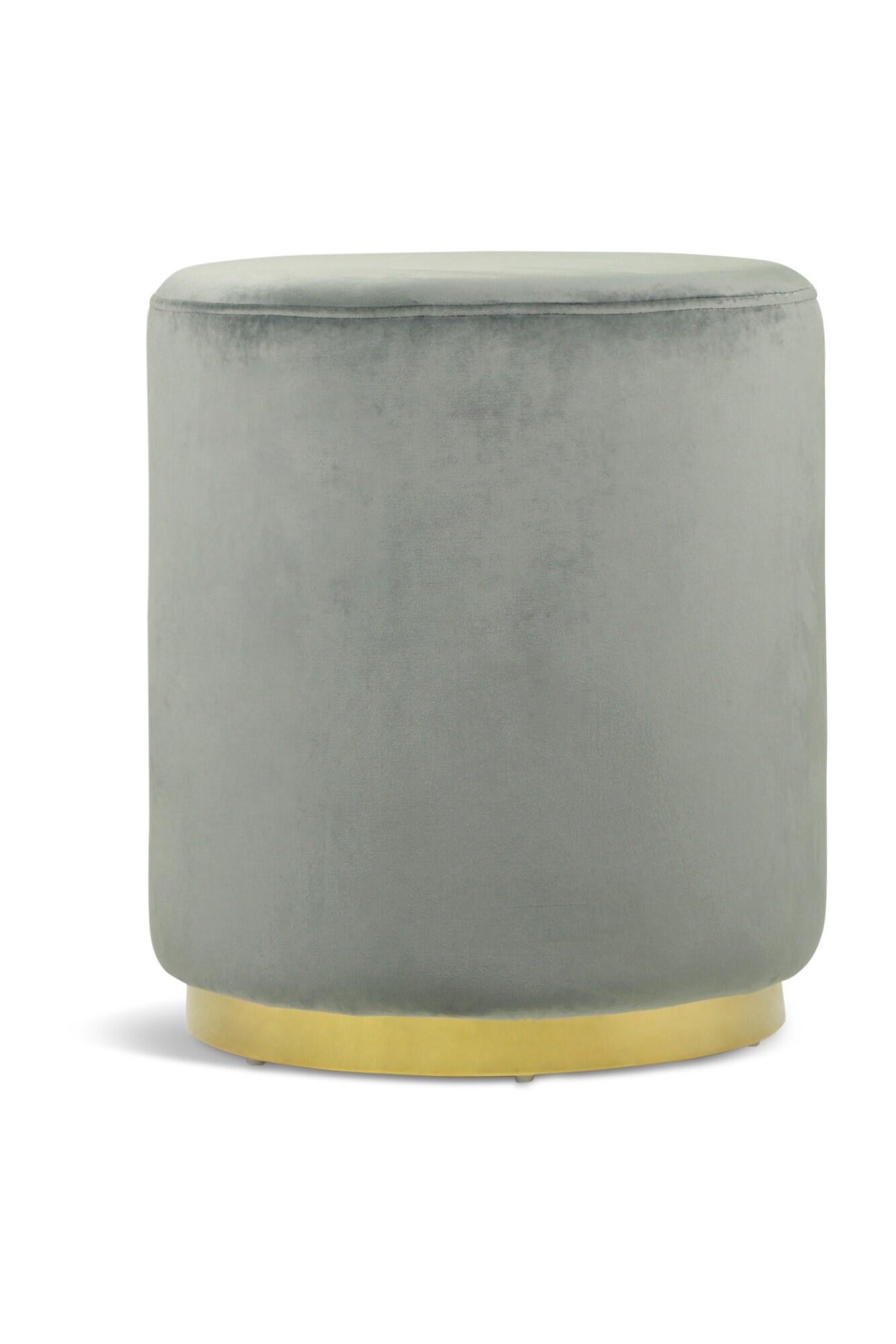 Opal Ottoman With Gold Legs Velvet Grey Furniture Home Décor
