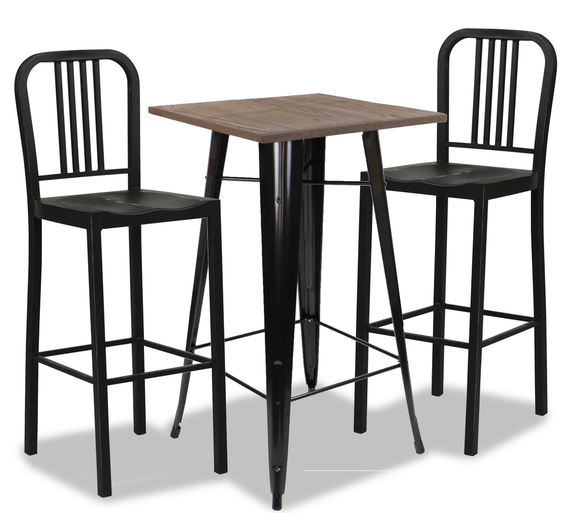 Loft Style Bar Table In Black Dining Set 1 2 Furniture Home