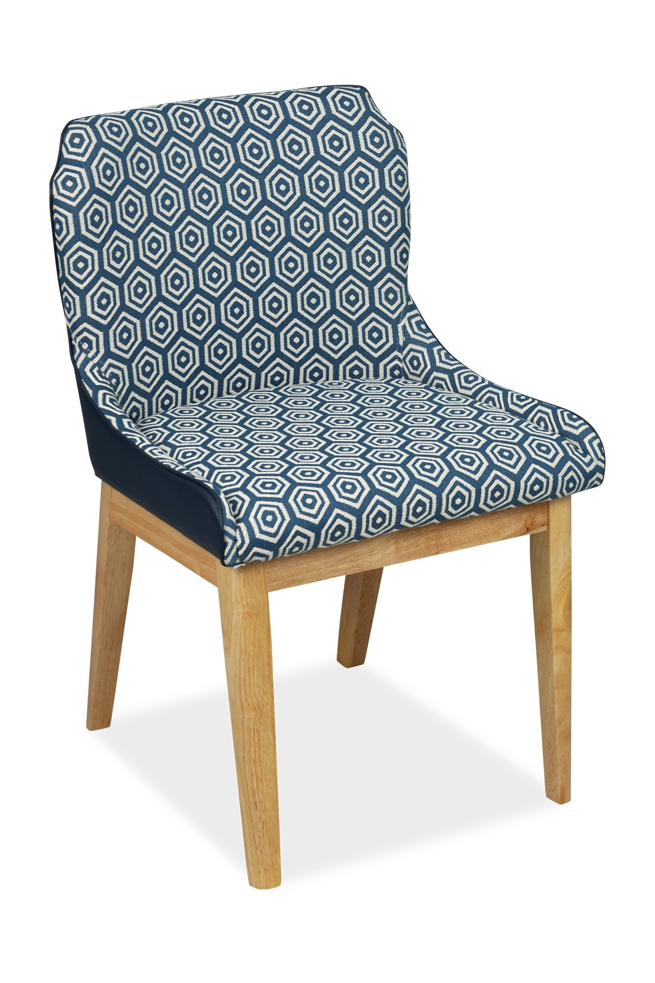 Fanni Dining Chair Natural With Pu Navy
