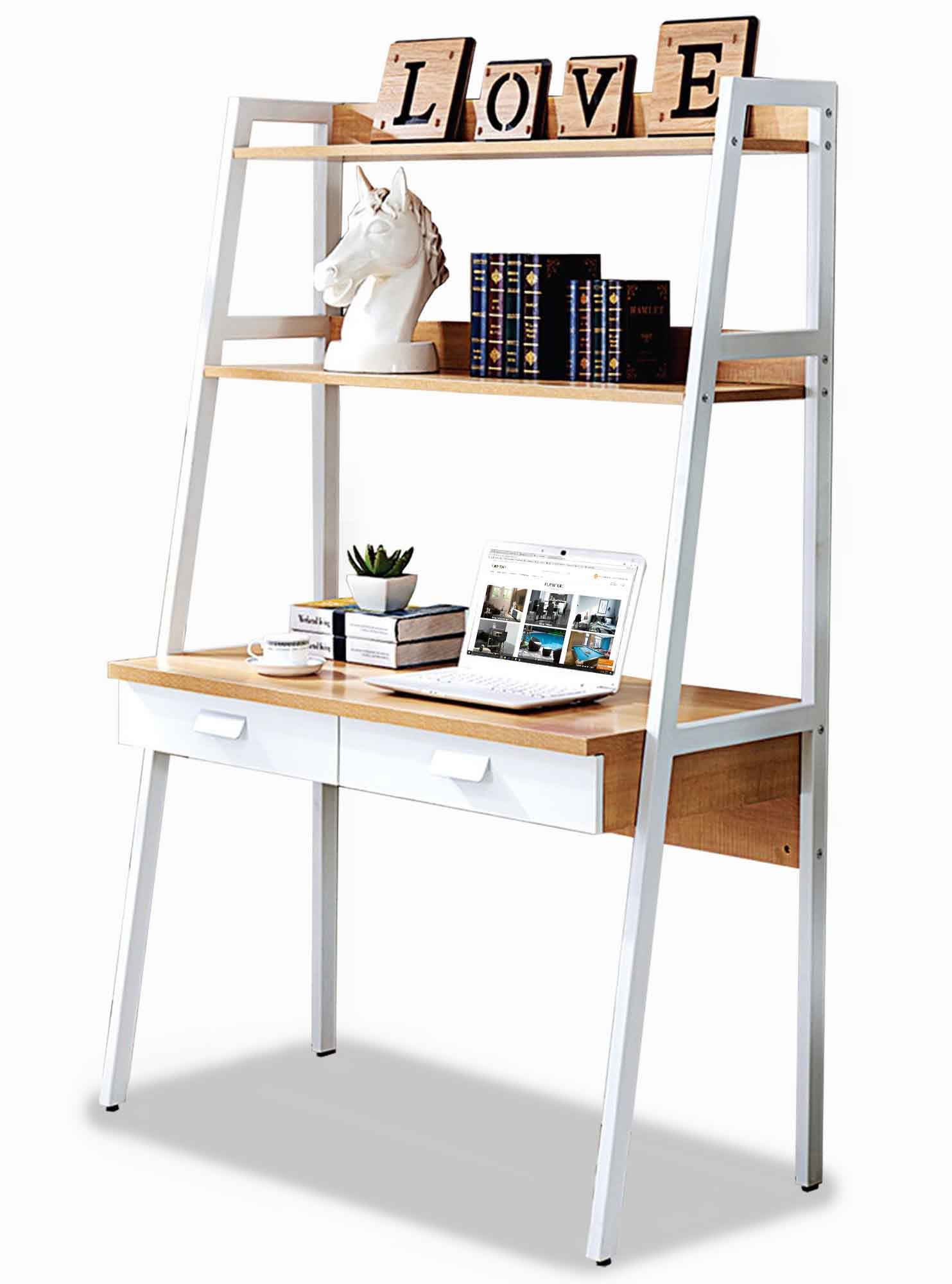 Parry Study Table with Top Shelves Furniture & Home Décor