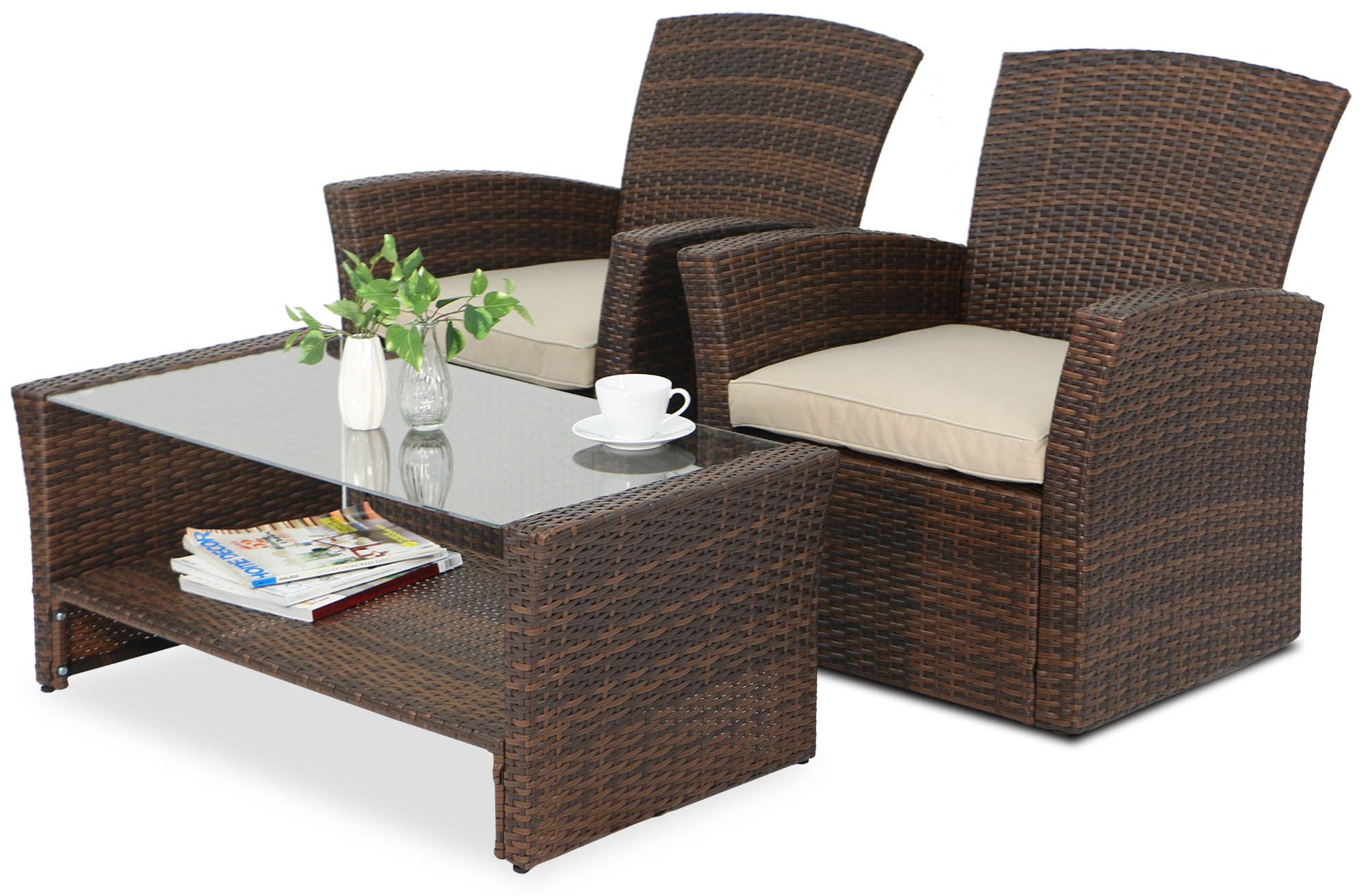 Beaumont Synthetic Rattan Outdoor Sofa Set Brown Display Gallery Item 1 2