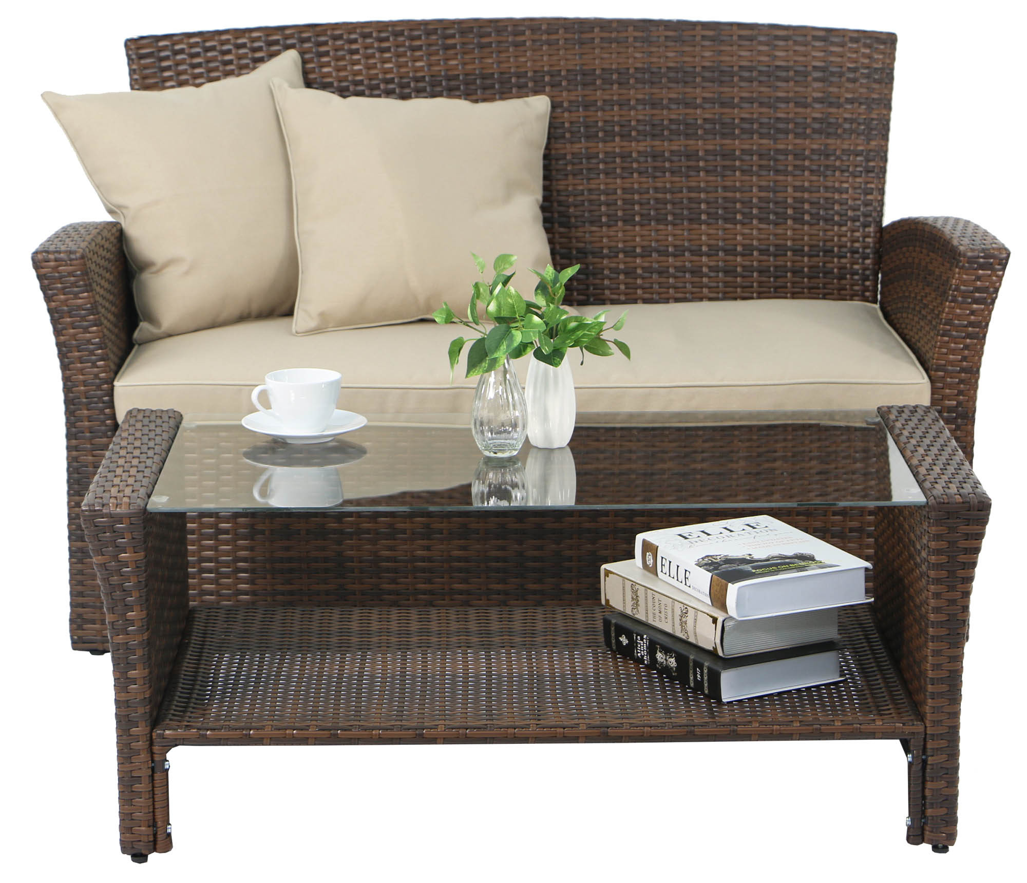 Beaumont Synthetic Rattan Outdoor Sofa Set Brown Display Gallery Item 1