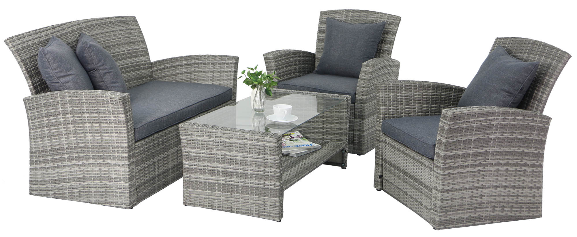 Beaumont Rattan Outdoor Sofa Set Grey All Sofas