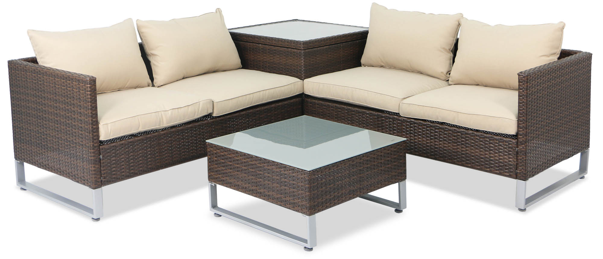 Royal Synthetic Rattan Outdoor Sofa Set With Storage Box Brown