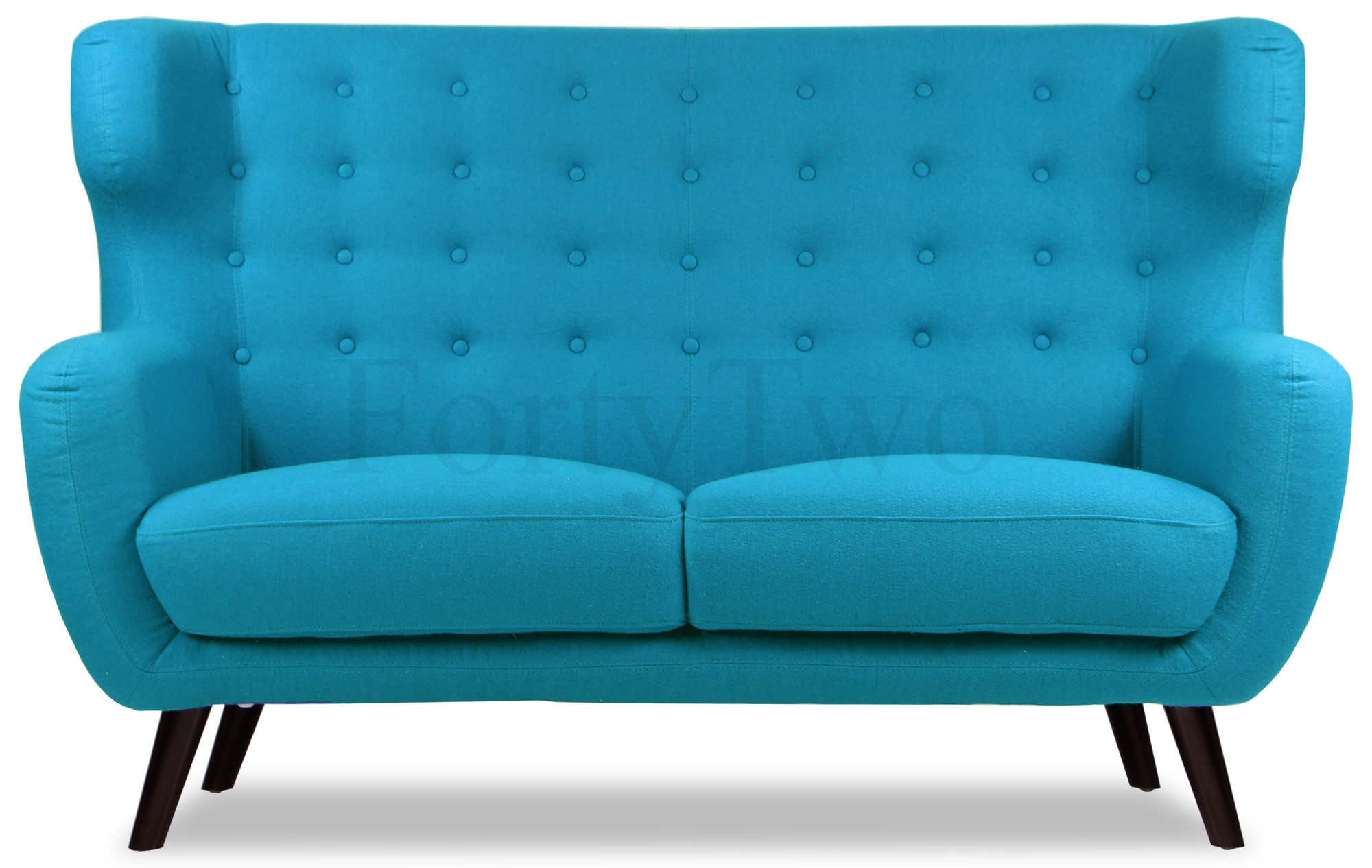 Replica wingback designer 2 seater sofa in aqua designer for Design sofa replica
