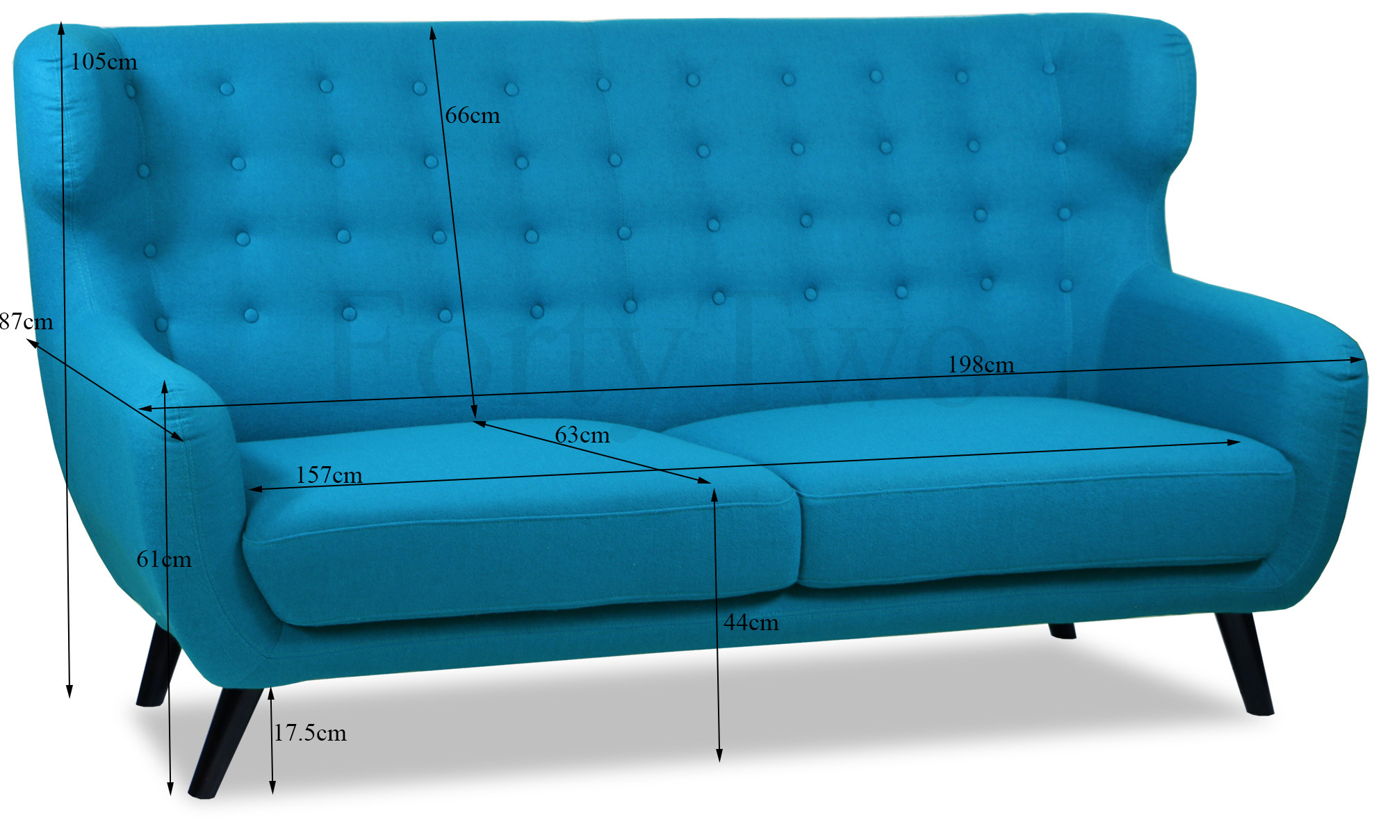 Replica wingback designer 3 seater sofa in aqua trending for Designer sofa replica