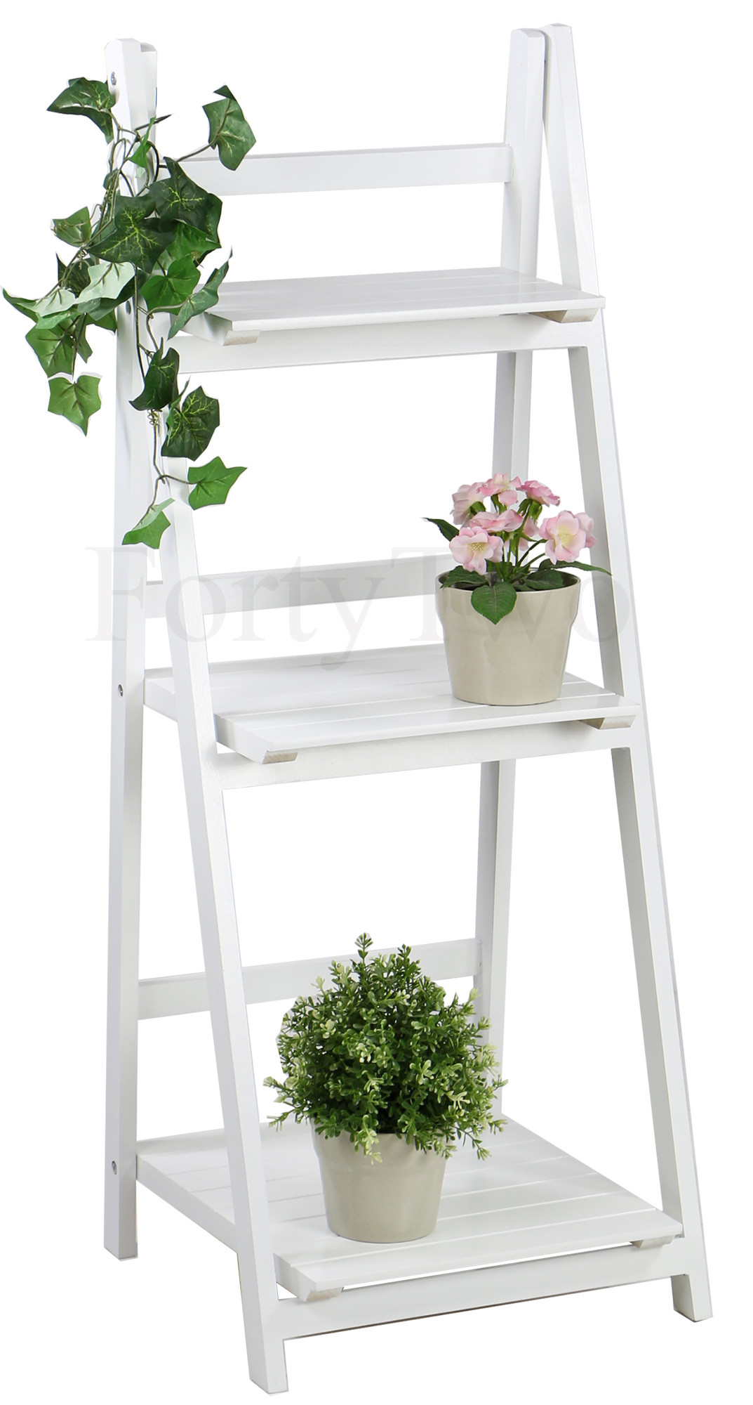 Rosea Foldable 3 Tier Flower Stand White Furniture Home Decor