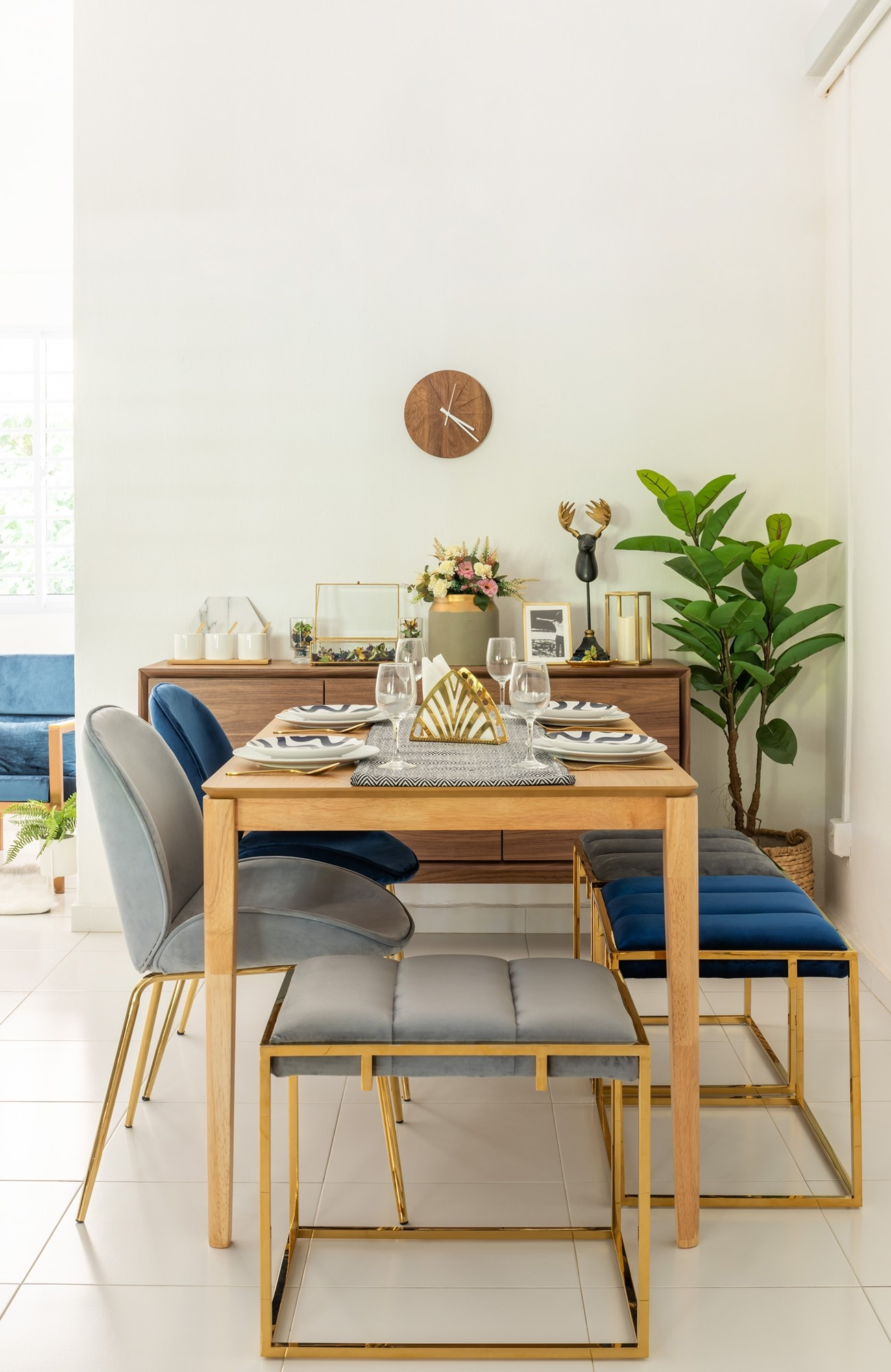 Beetle Chair Replica with Gold Legs (Grey) - Dining Chairs ...