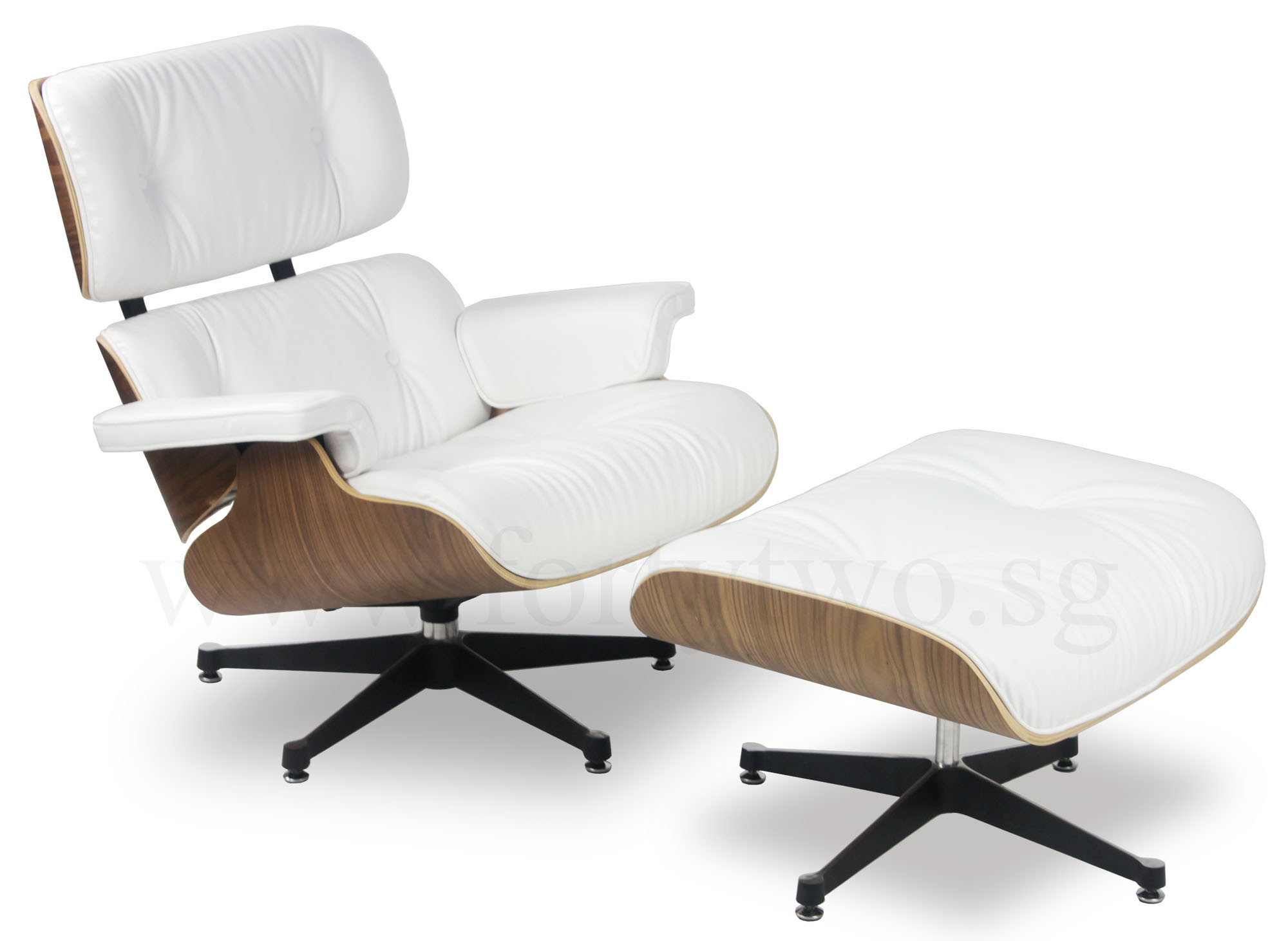 Eames replica lounge chair white leather furniture for Eames lounge chair replica erfahrungen