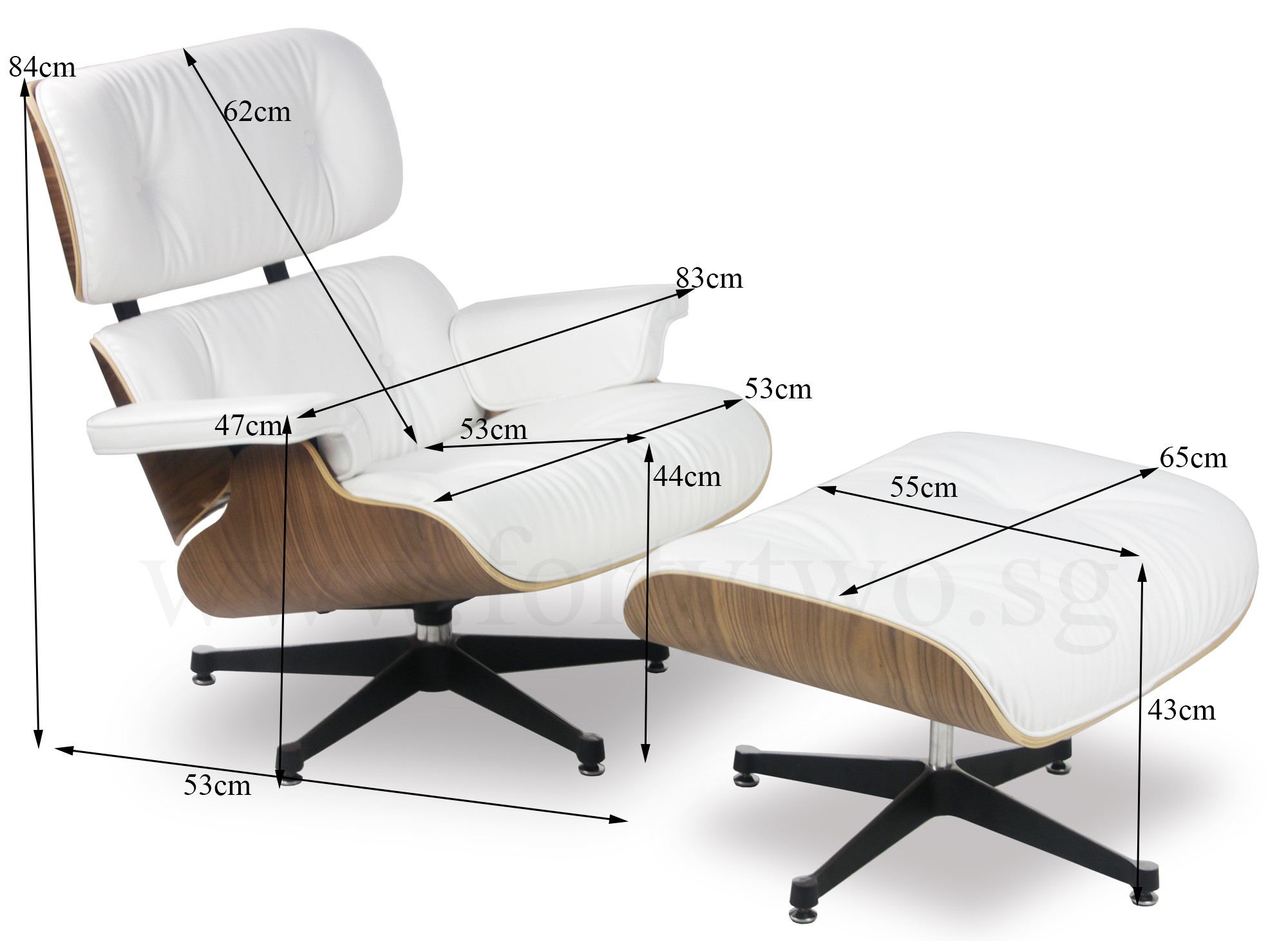 Eames Lounge Stoel Replica.Eames Replica Lounge Chair White Leather